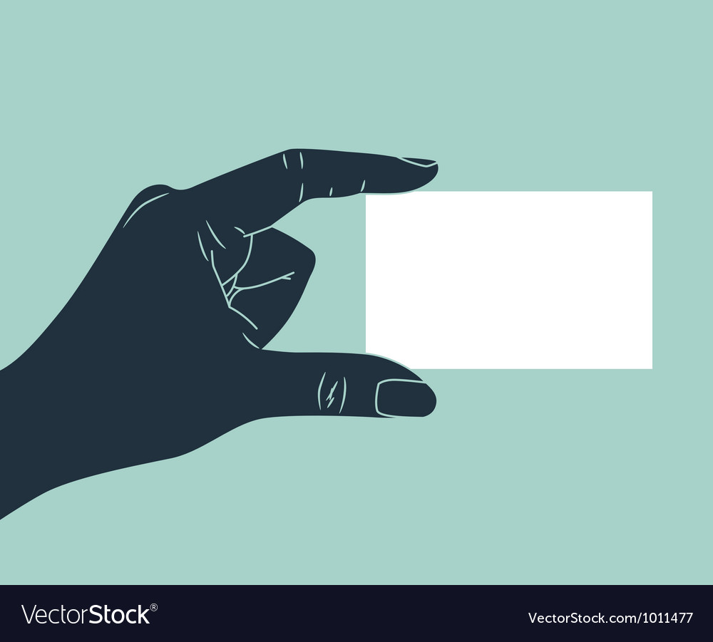 Hand showing blank business card vector image