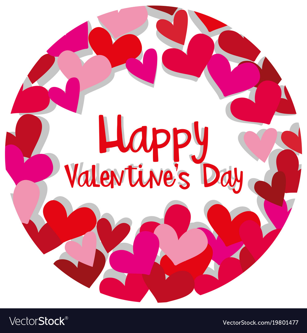 Happy Valentine Card Template With Hearts In Red Vector Image