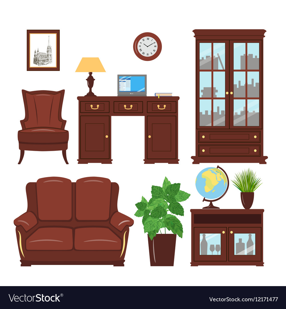 Home office furniture set vector image