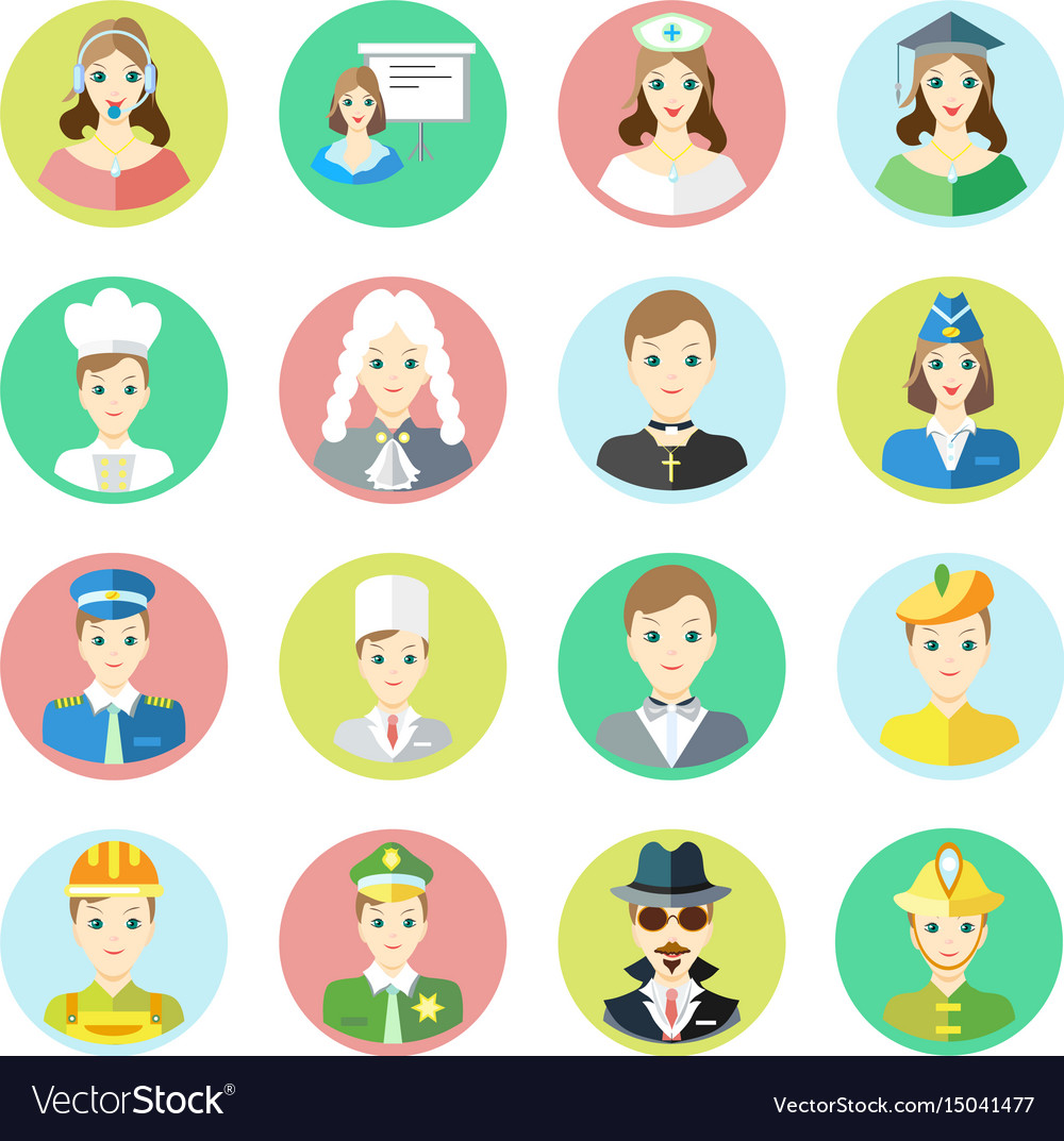 Icons characters of different professions