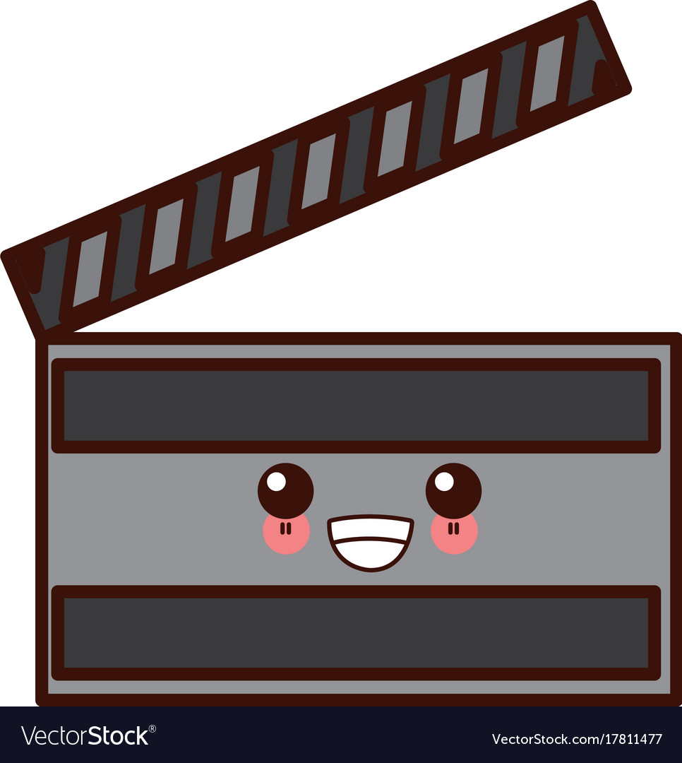 Movie kawaii. Clapboard symbol cute cartoon