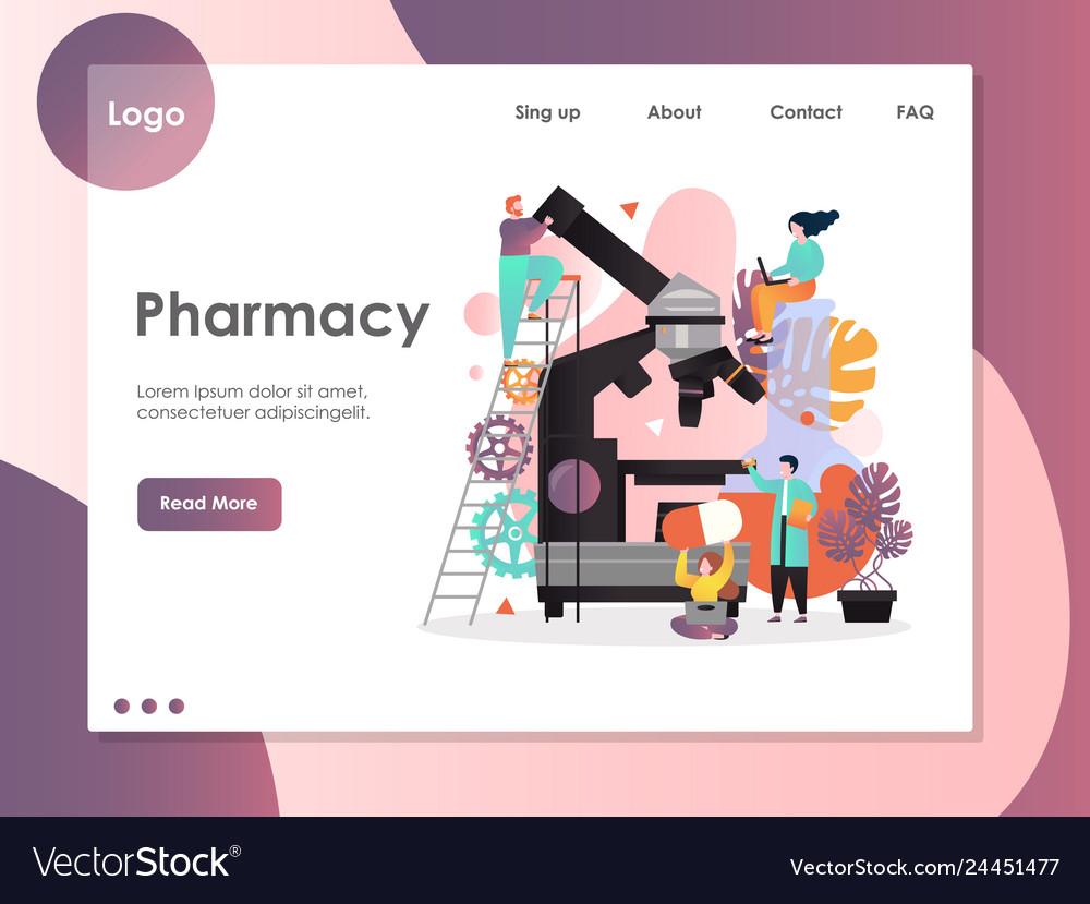 Pharmacy website landing page design