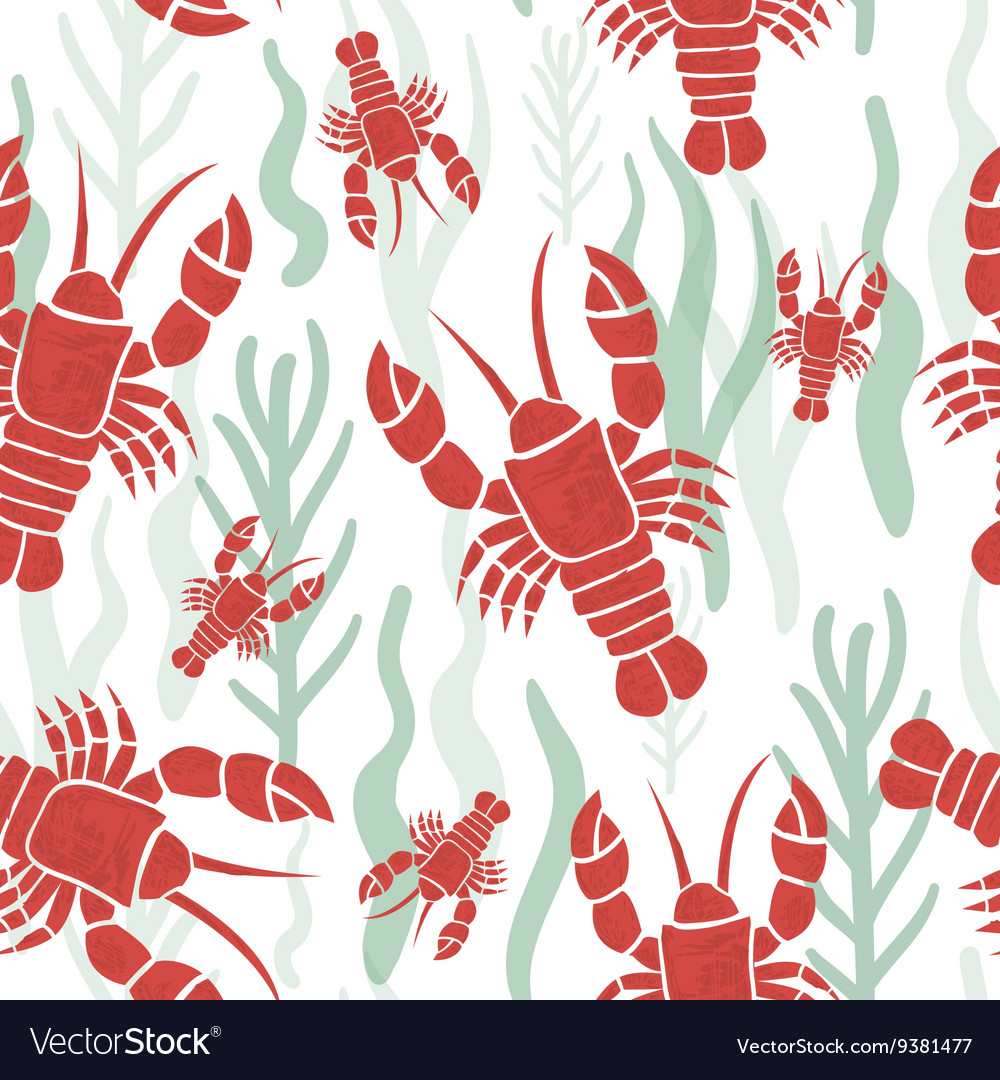 Seamless pattern with lobster