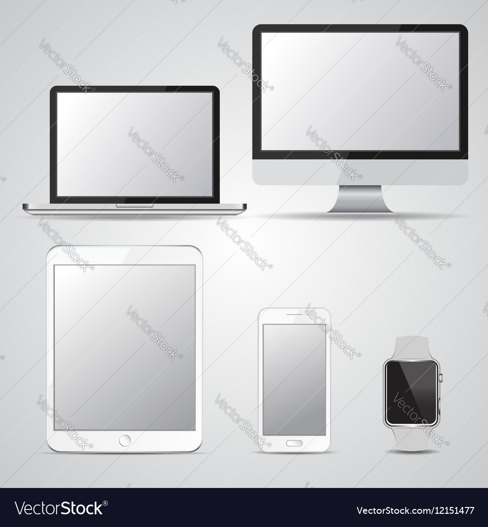 Set of blank screen devices Monitor laptop