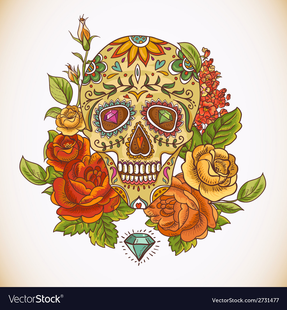 skull and flowers day of the dead royalty free vector image