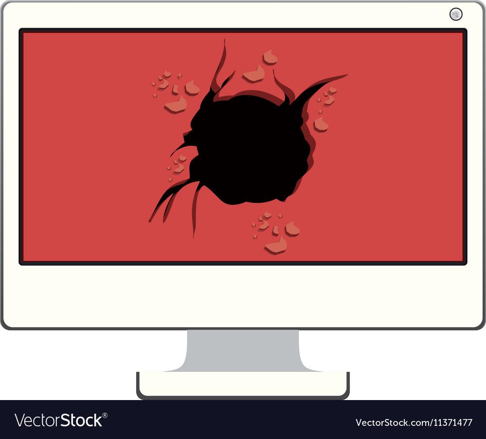 Tech desktop with broken screen