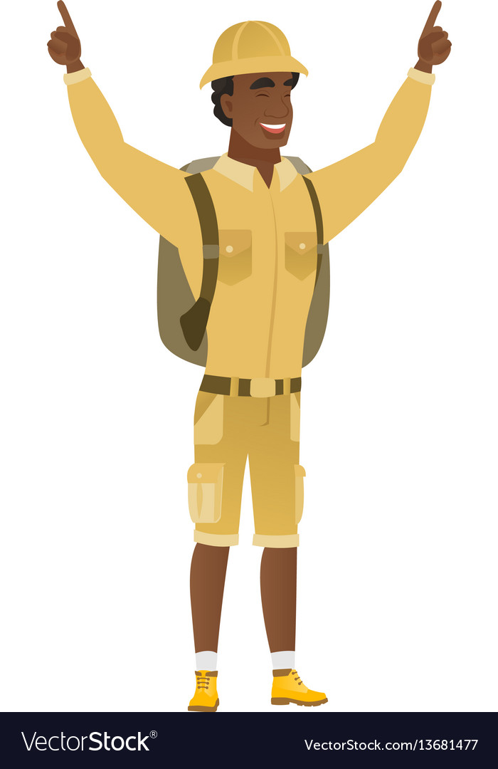 Traveler standing with raised arms up