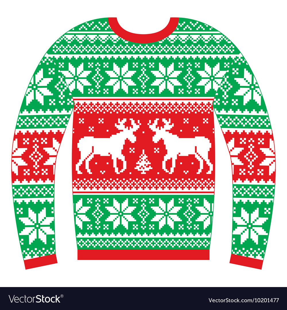 Ugly Christmas Sweater Design.Ugly Christmas Jumper Or Sweater With Reindeer