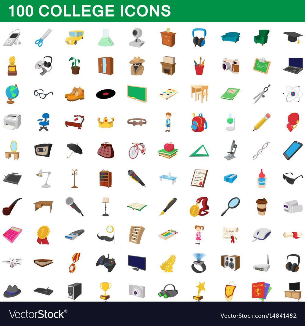 100 college icons set cartoon style