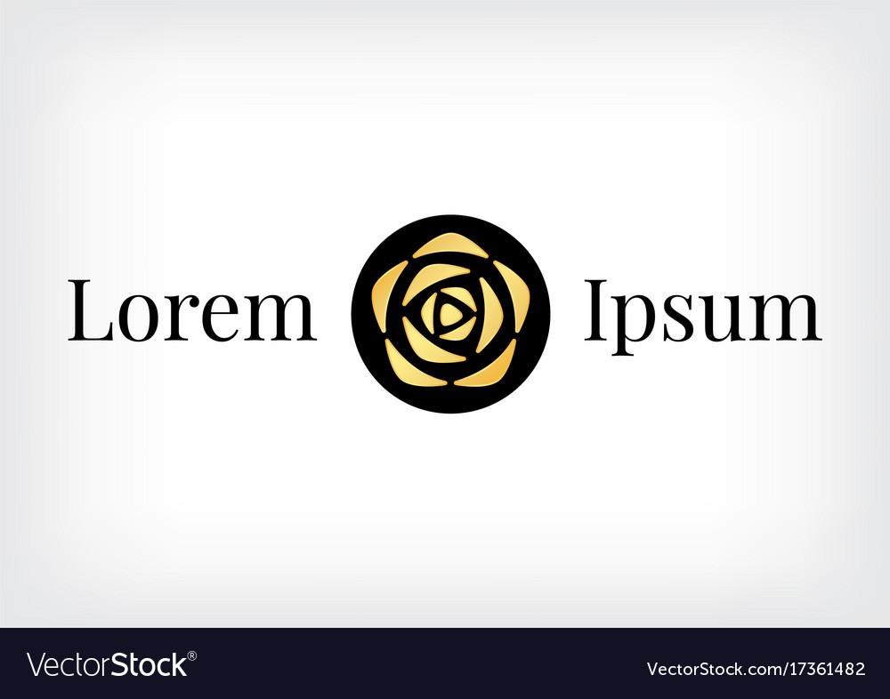 Black circle with gold rose logo