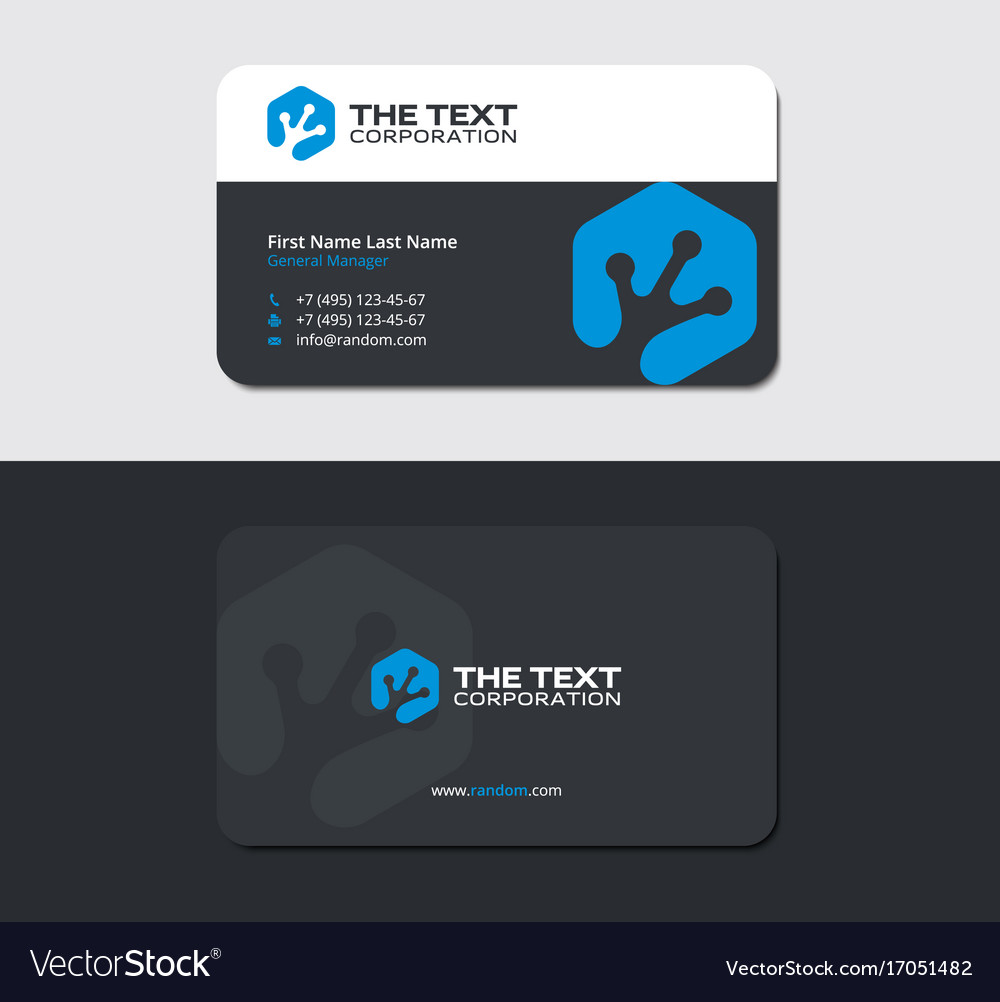 Business card with blue amphibian toe imprint Vector Image