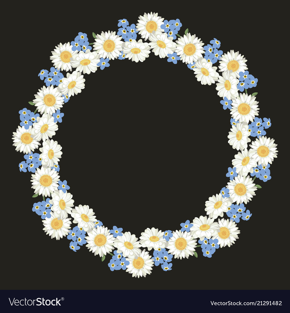 Chamomile and forget me-not-flowers pattern on