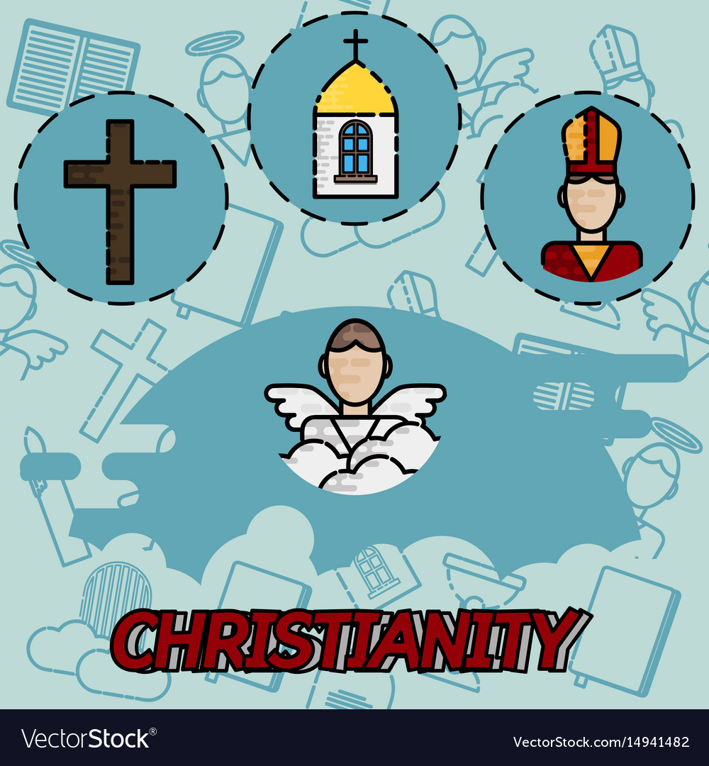 Christianity flat concept icons