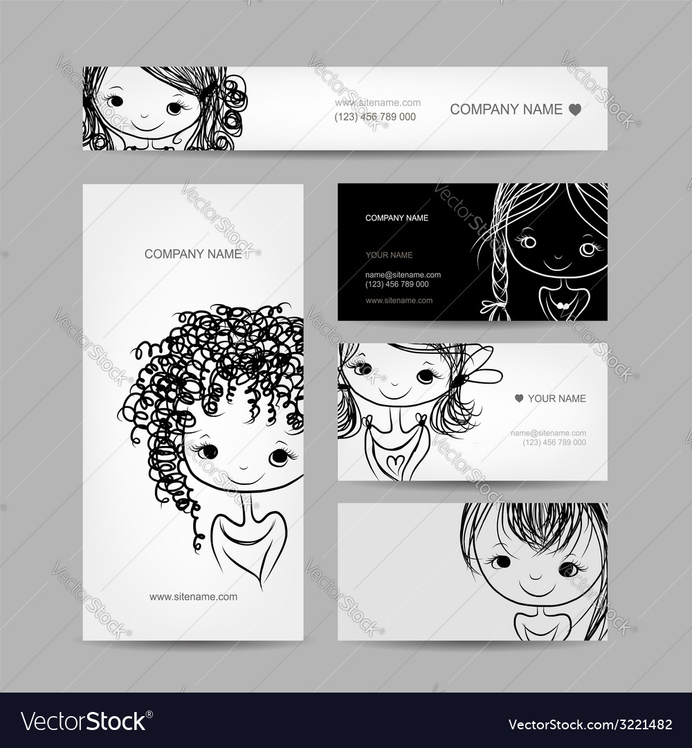 Cute girl smiling set of business cards your