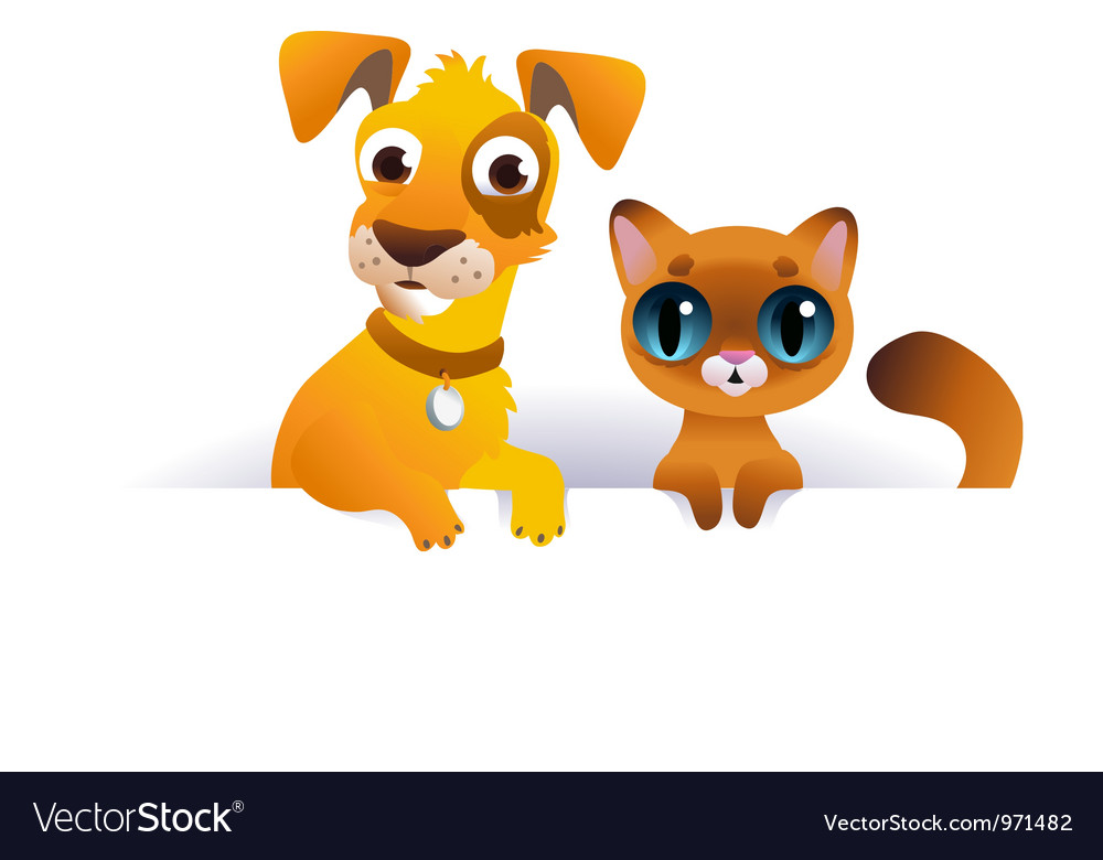 Dog And Cat Above White Banner Royalty Free Vector Image