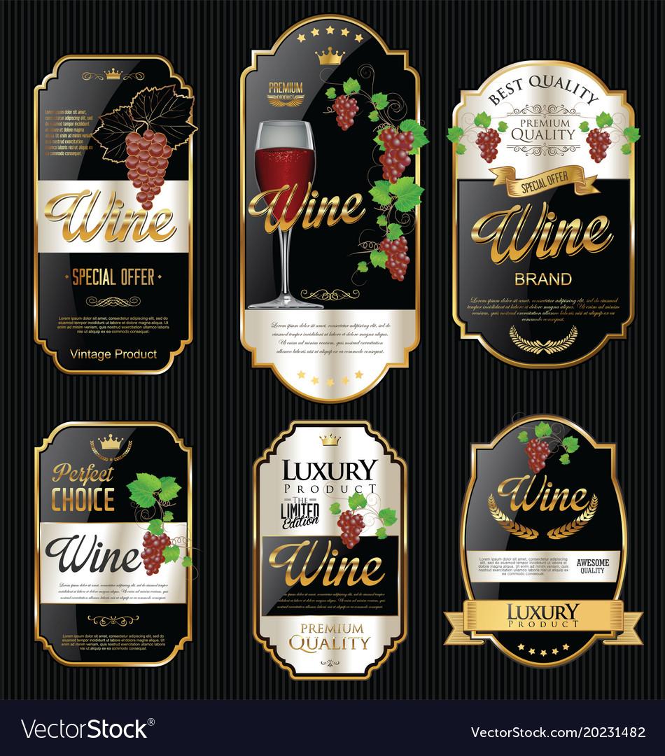 Golden wine labels retro vintage design collection