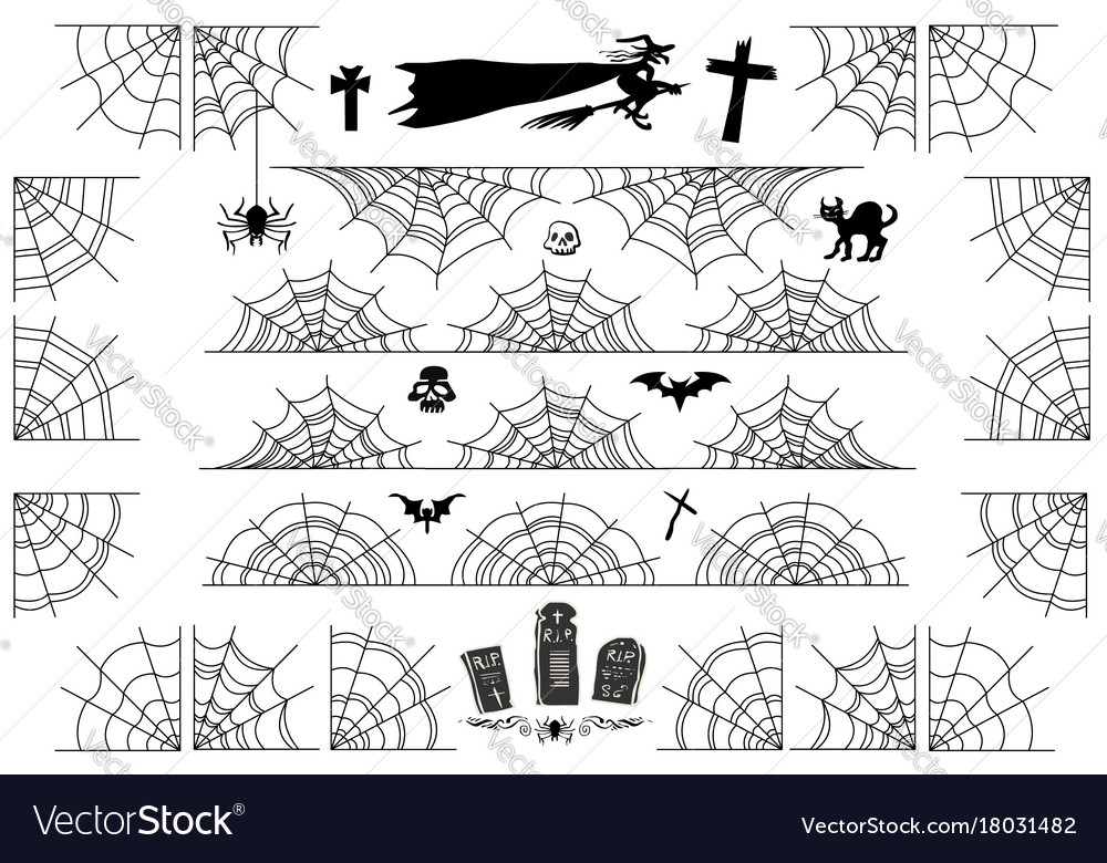 Halloween spiderweb borders and corners frame vector image