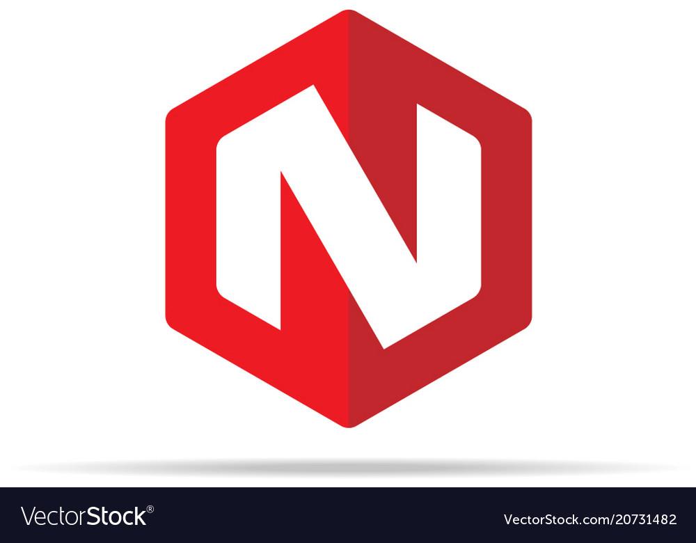 Letter n logo icon in polygon hexagonal shape vector image