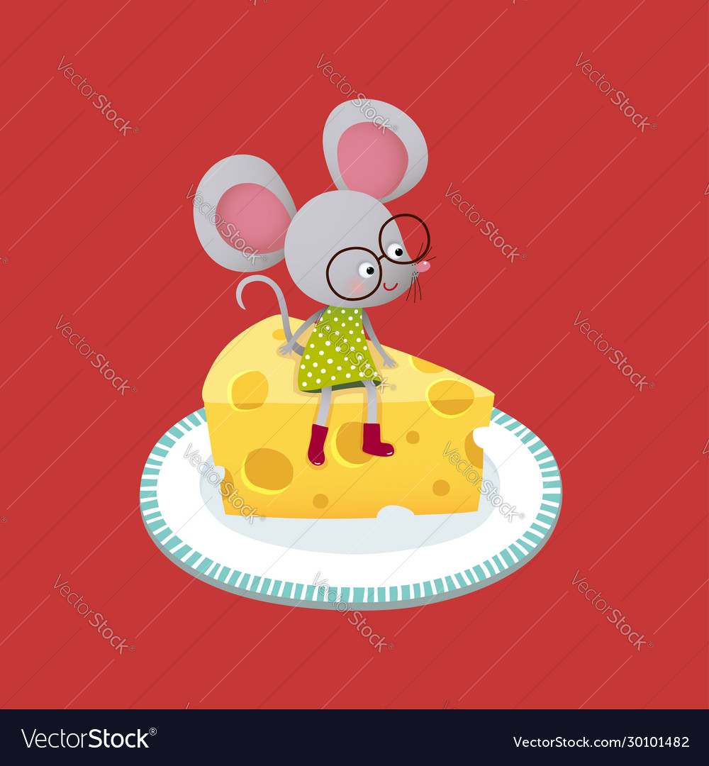 Mouse sitting on a piece cheese