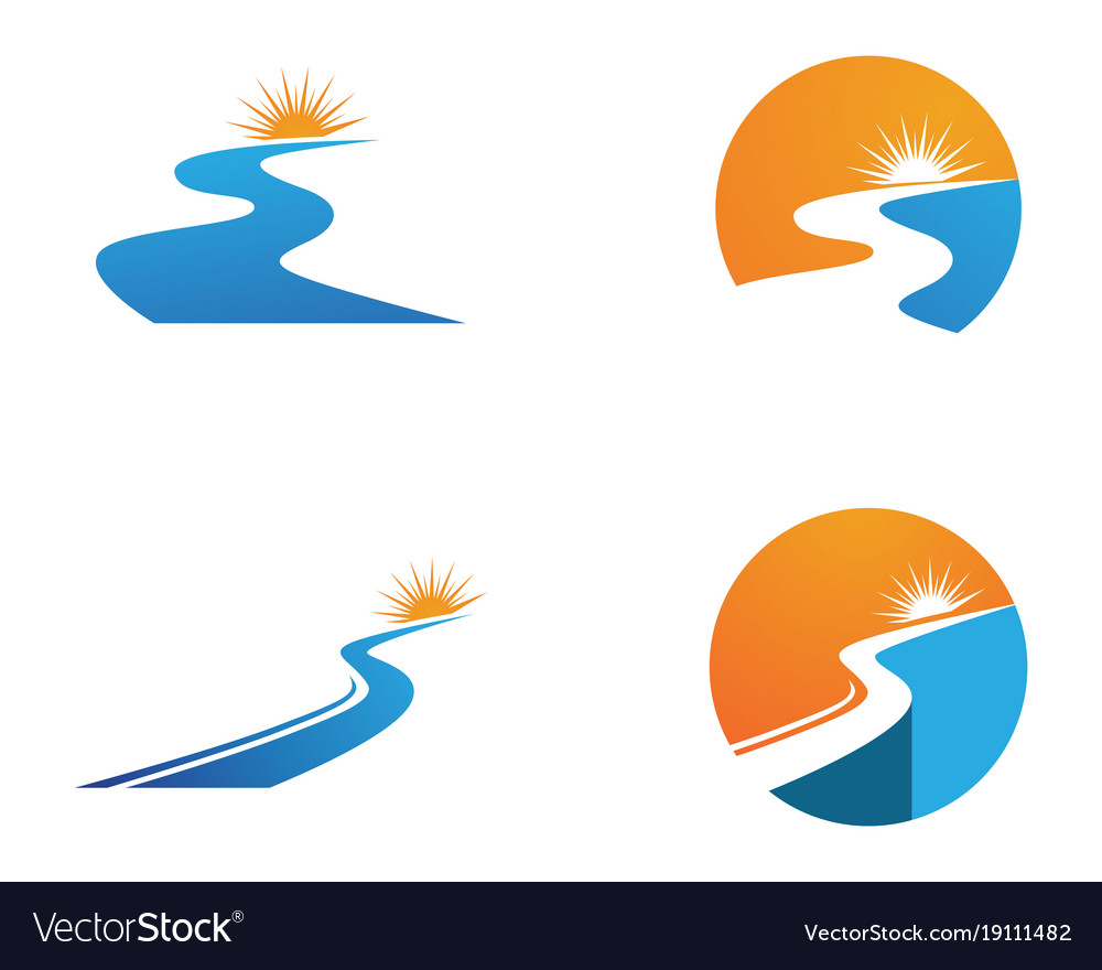 river logo and symbols icons template app vector image