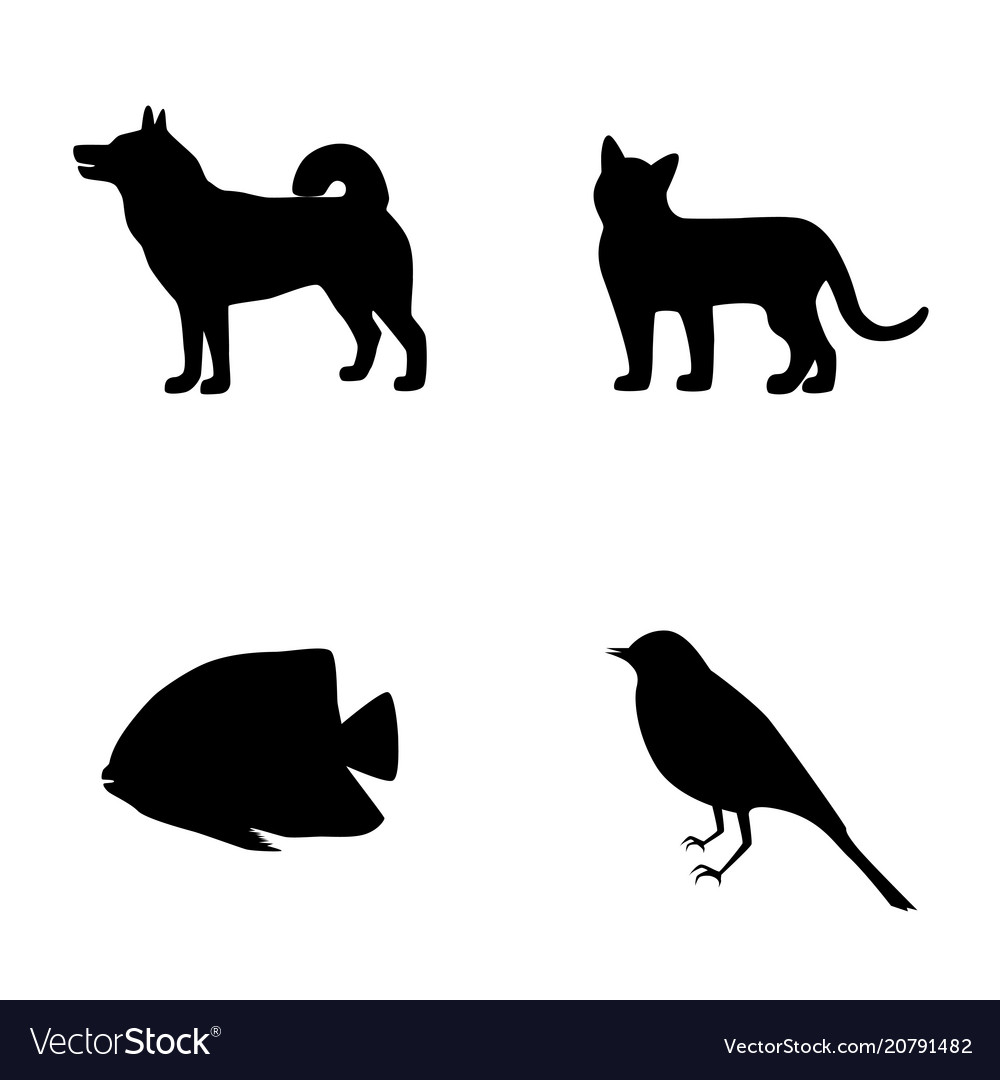 Set silhouette of dog cat fish bird icons