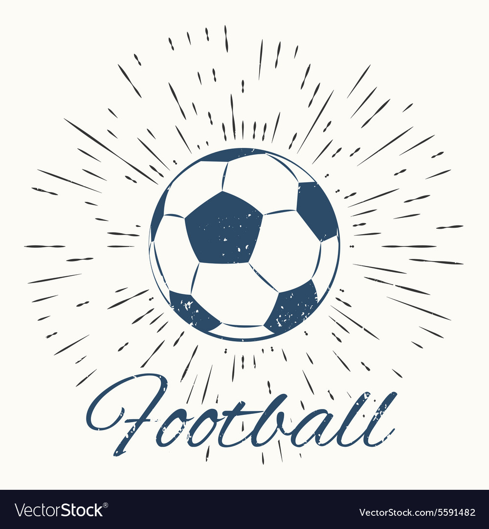 Soccer ball and vintage sun burst frame Royalty Free Vector