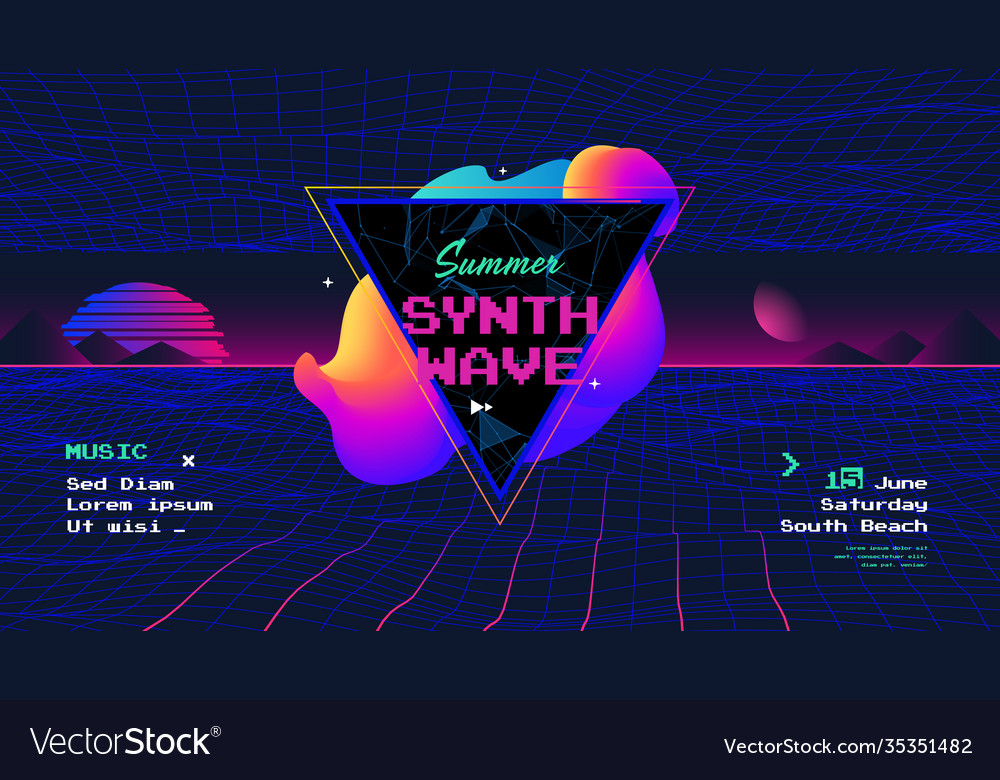Summer synth retro wave poster with sunrise