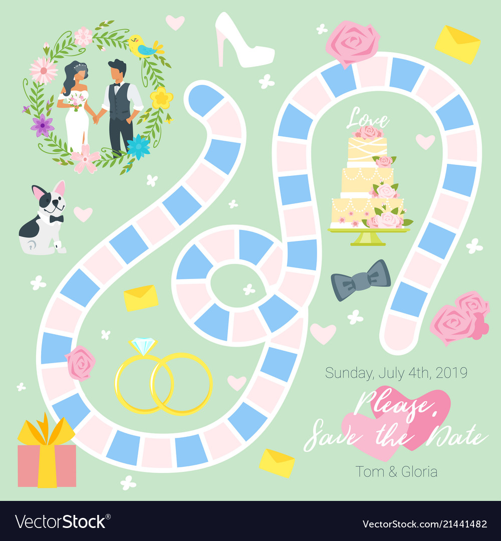 Wedding Board Game Template Royalty Free Vector Image