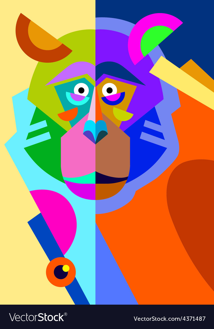 Abstract original monkey drawing in flat style and vector image