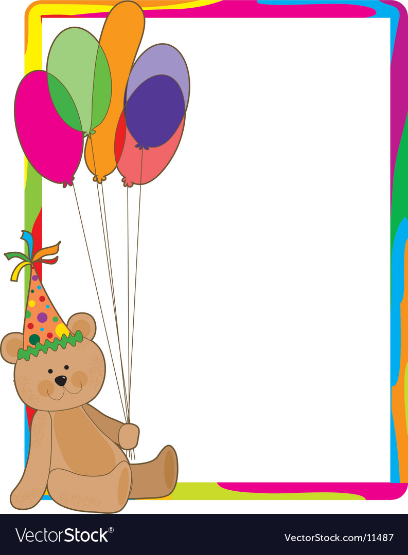 Birthday bear border vector image
