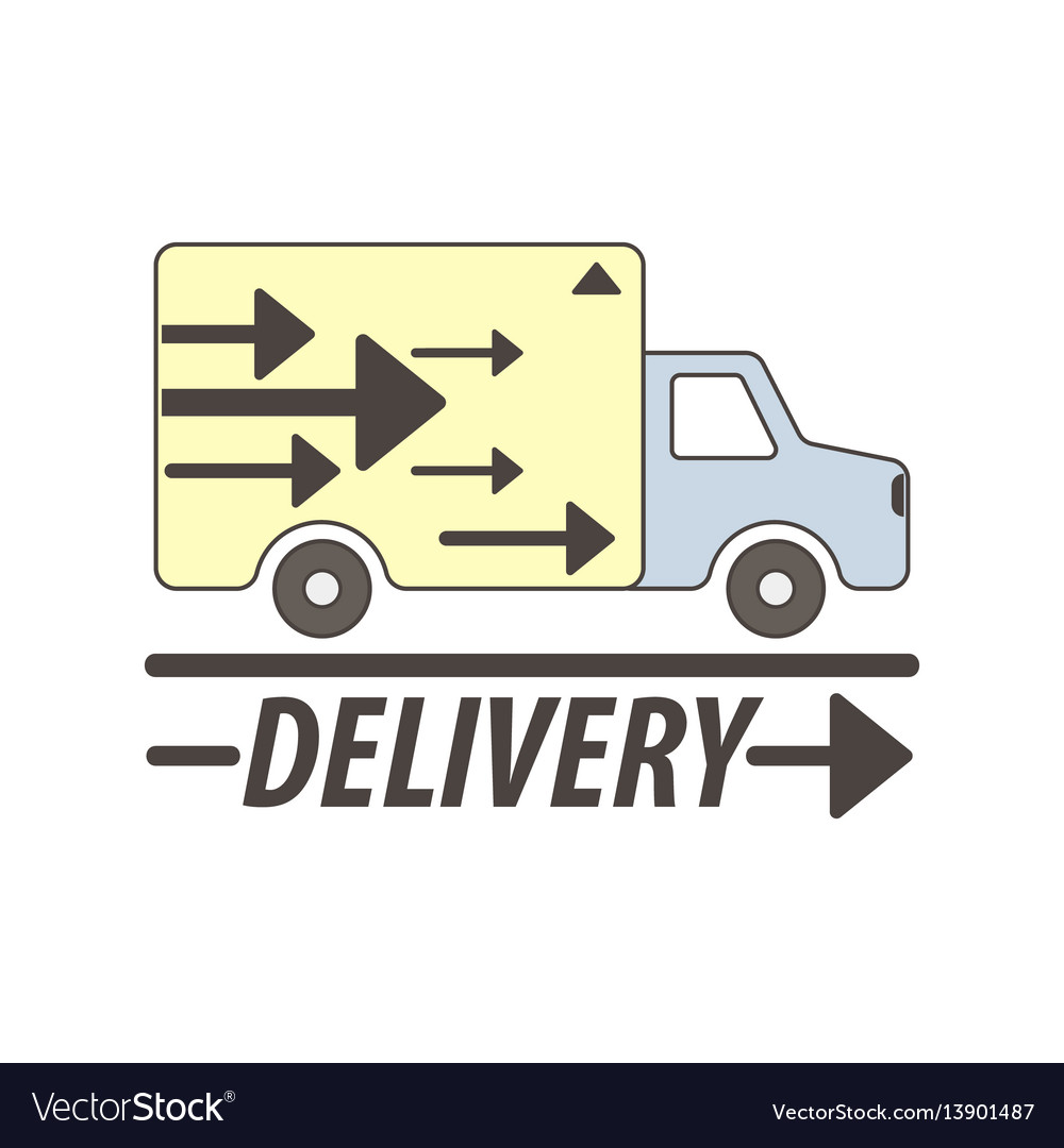 Delivery service truck or car flat icon