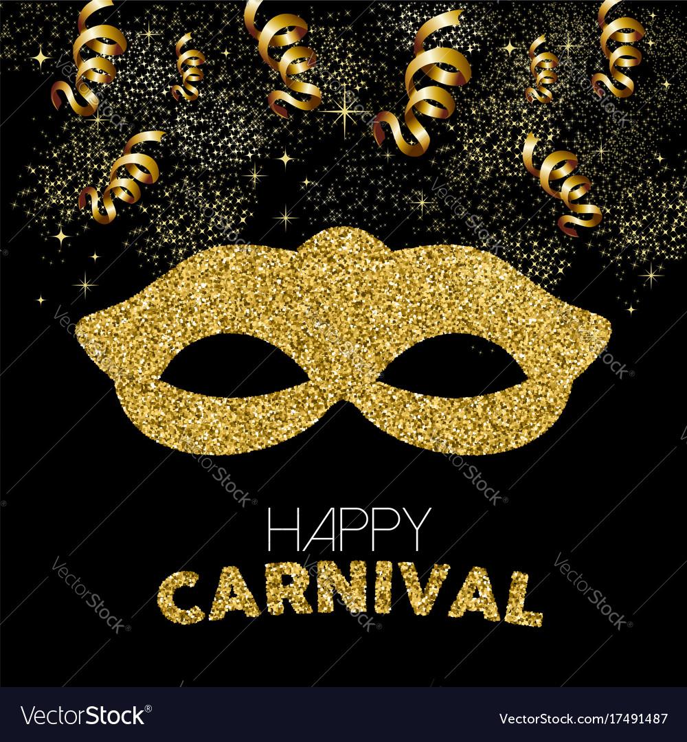Gold glitter happy carnival mask decoration design