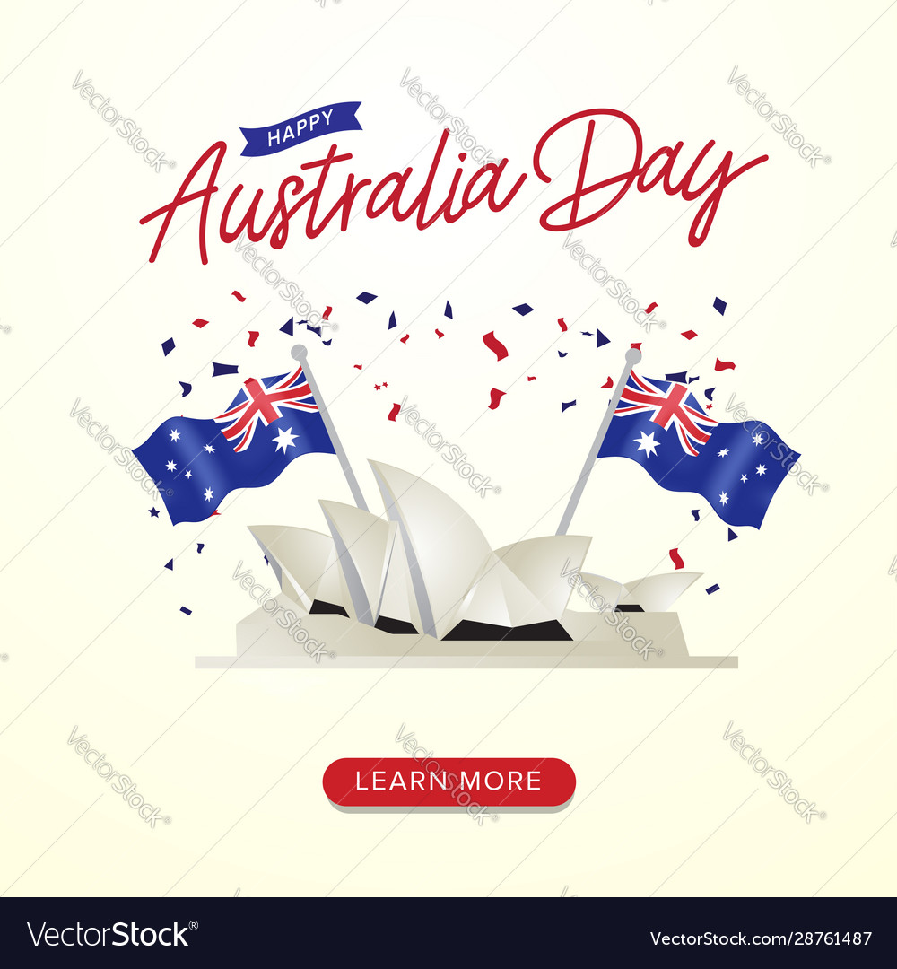 Happy australia day celebration poster with flags
