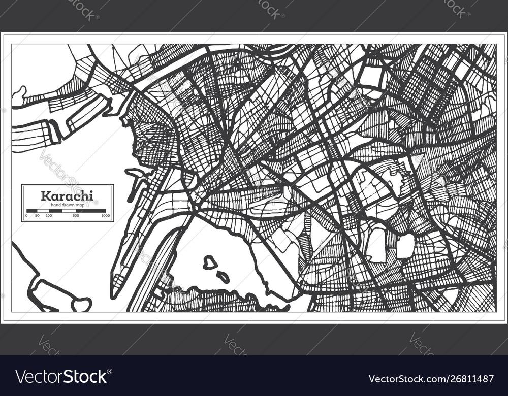 Karachi pakistan city map in black and white