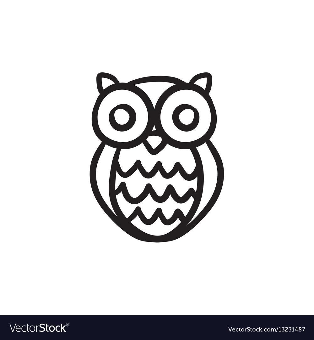 Owl sketch icon vector image