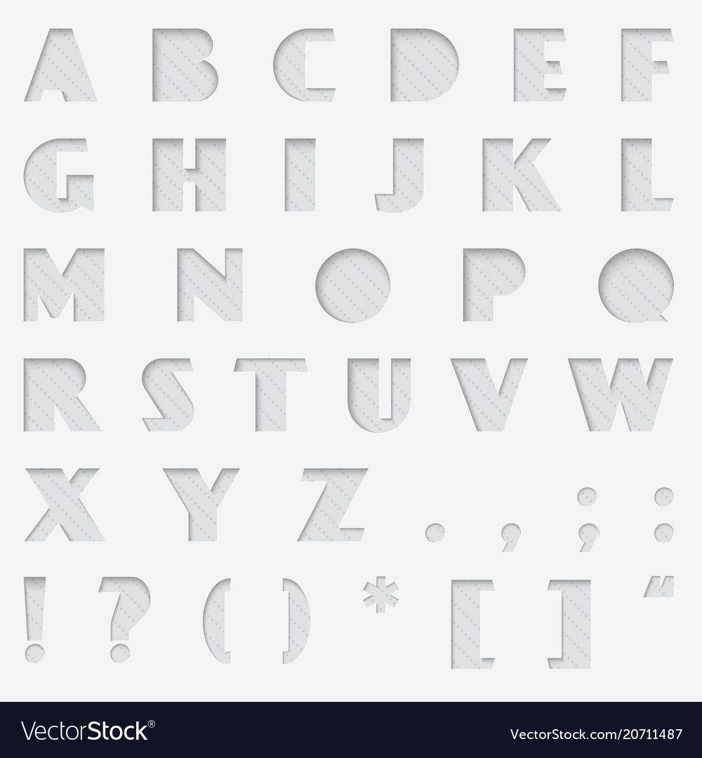 Paper cut alphabet cutted from paper font vector image