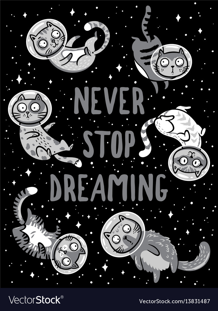 Print with cats in space never stop