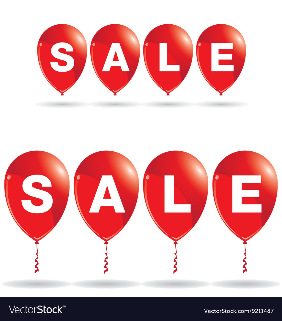 Red balloons with sale discount isolated on white