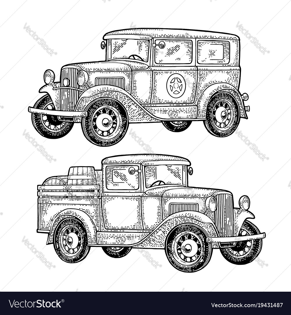 Retro police car and pickup truck with barrel