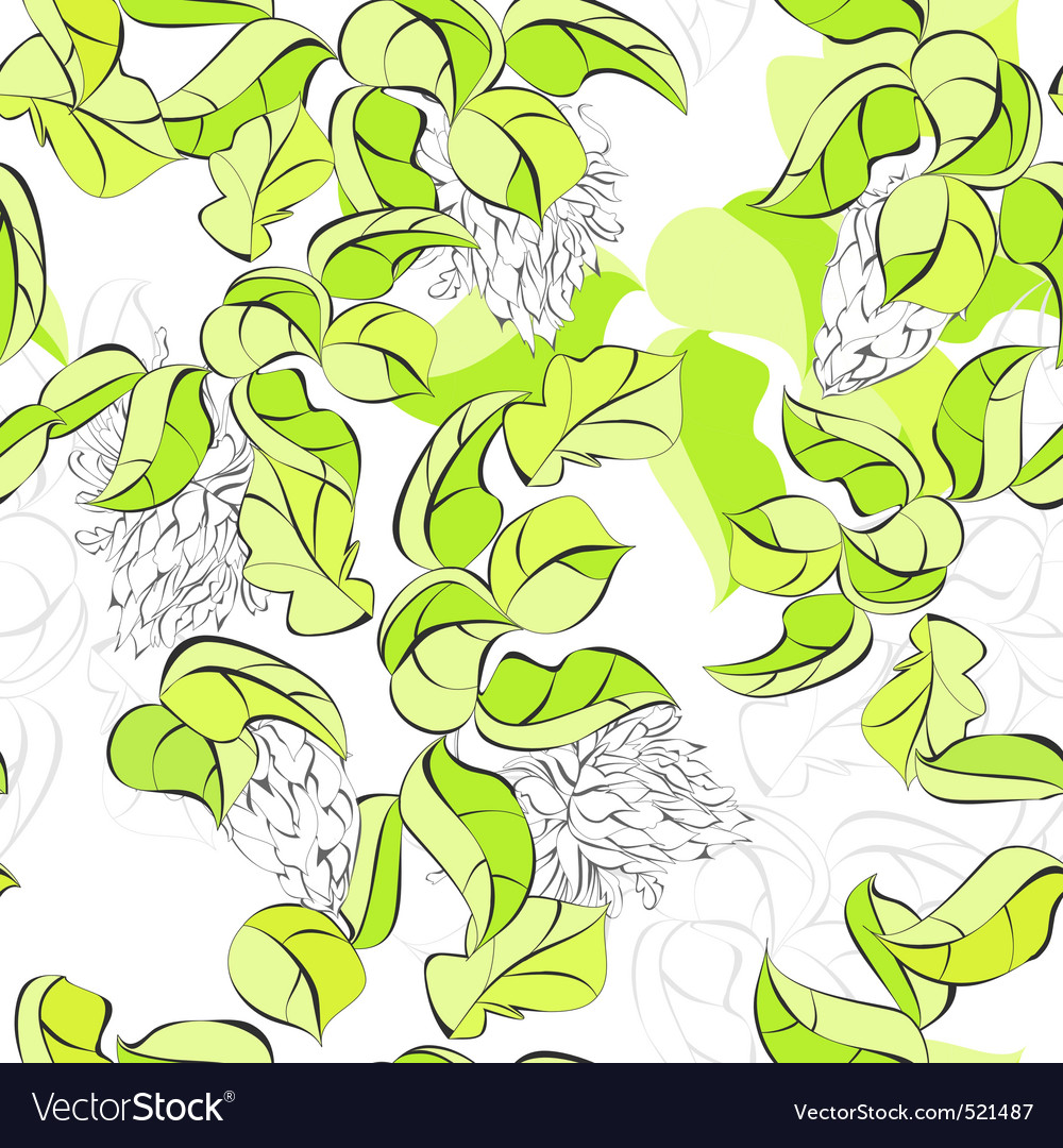 Seamless walpaper with green leaves vector image