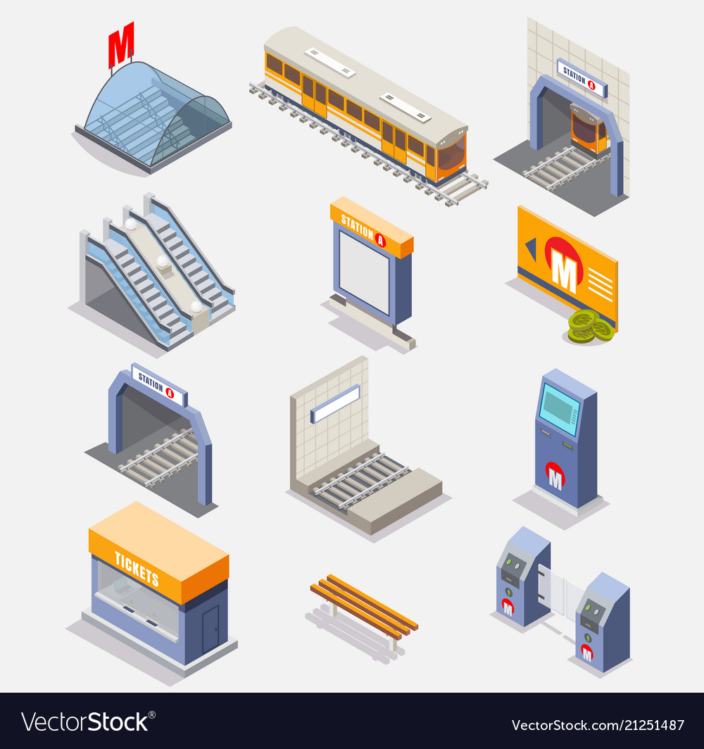 Subway or underground isometric icon set