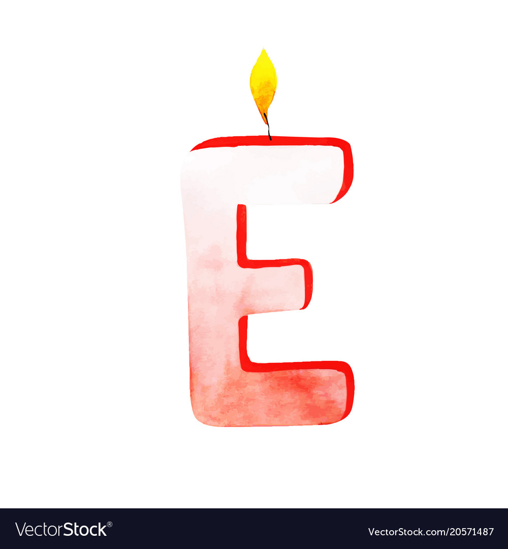 Watercolor Happy Birthday Letter E Candle Vector Image
