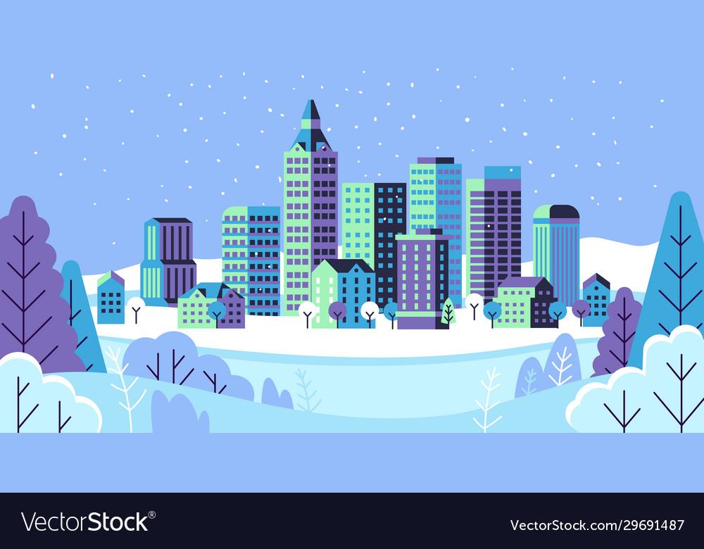 Winter simple landscape snowy city panorama