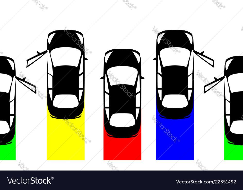 Big Set Collection Black Cars Top View Sport Car Vector Image