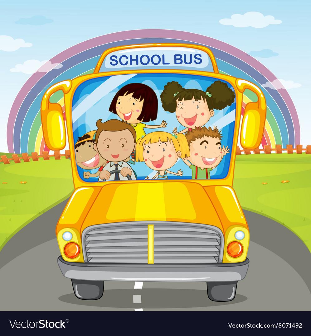 Children riding in the school bus vector image