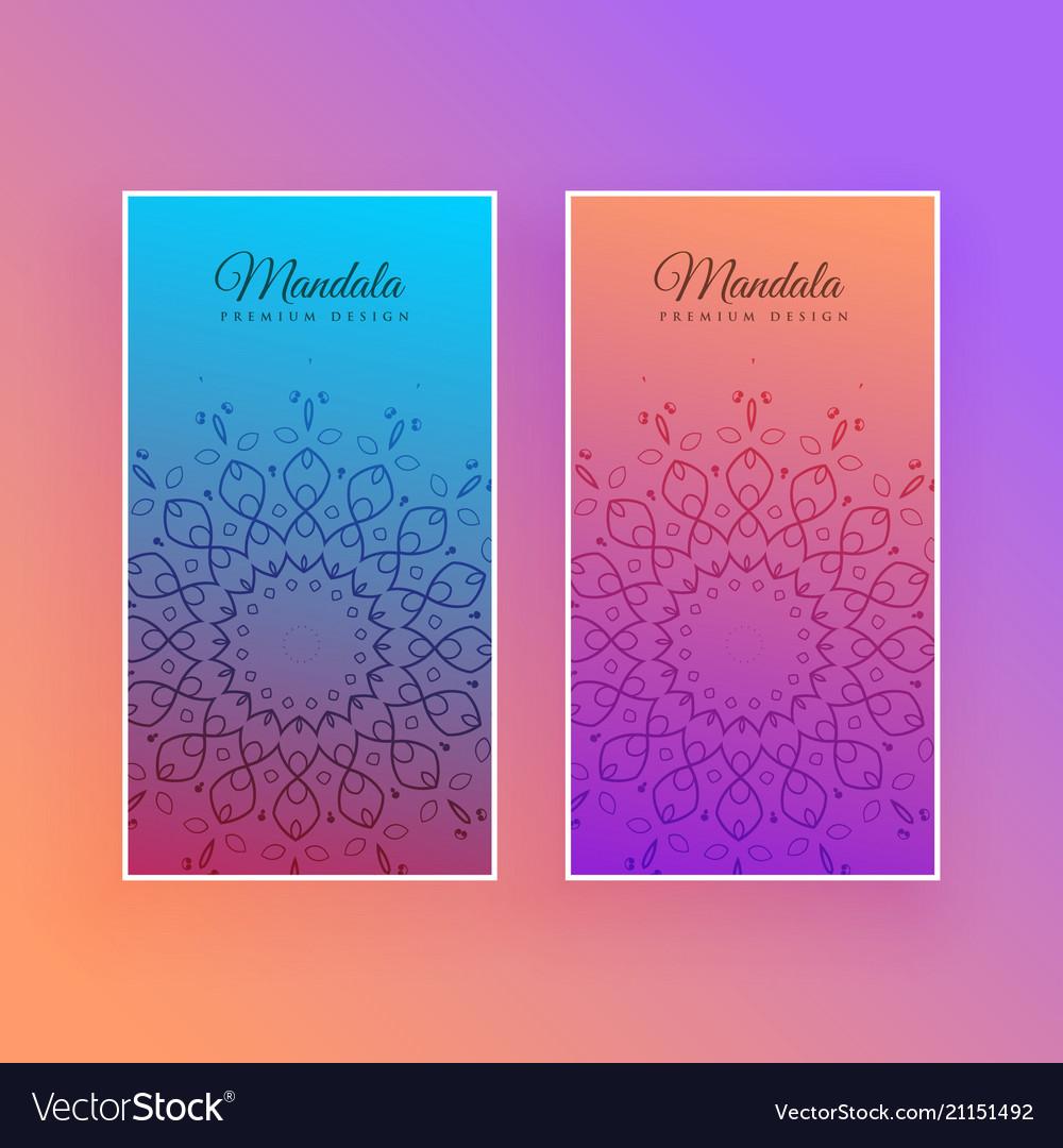 Colorful mandala beautiful card design vector image