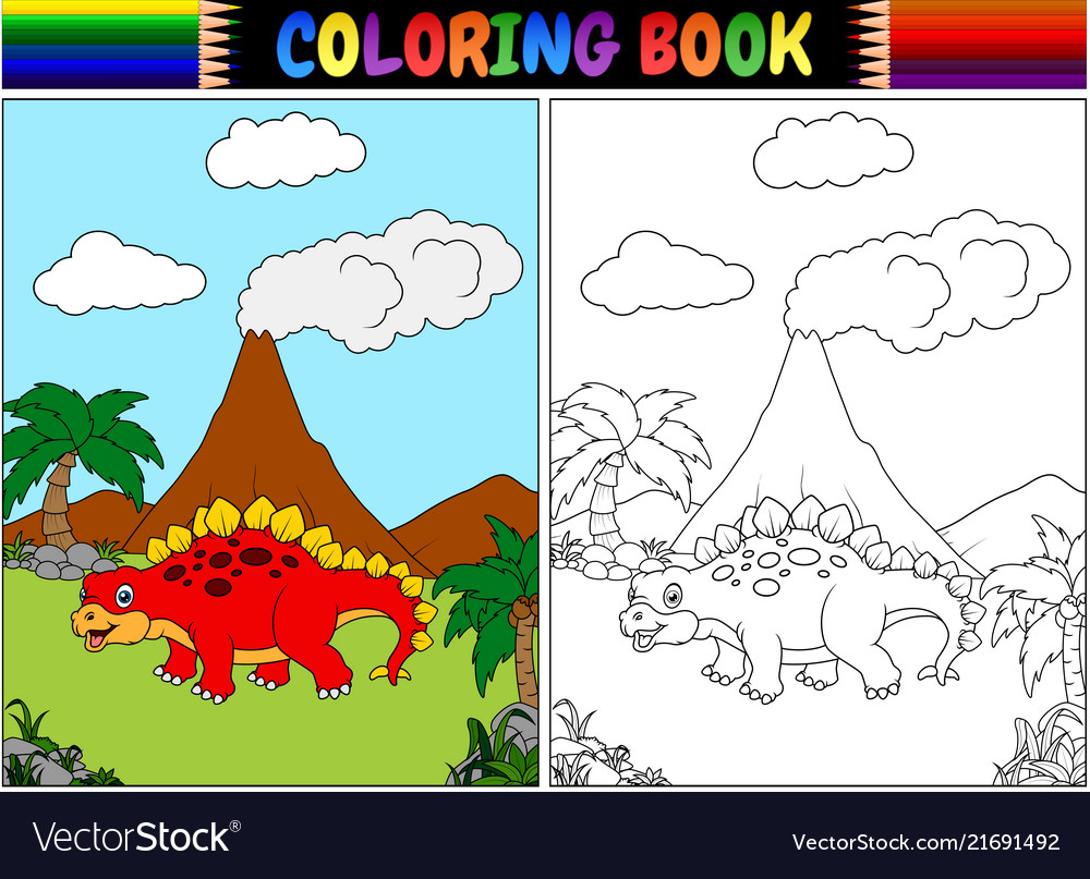 Coloring book with cartoon stegosaurus