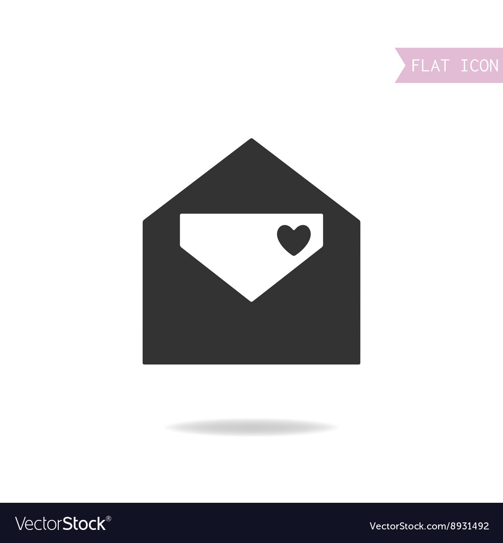 Flat icon of etter Love message Black