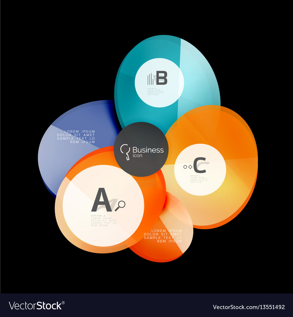 Glossy glass circle banner design template