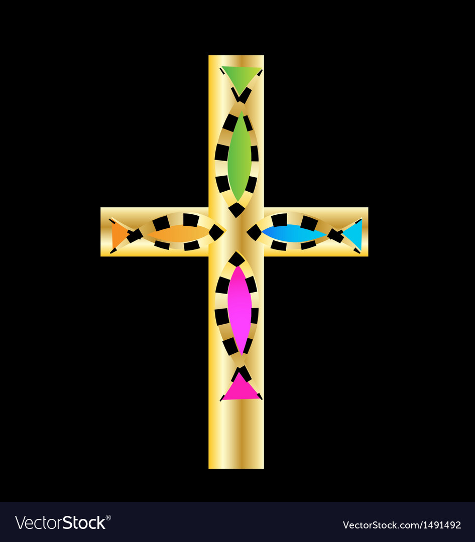 Gold cross with colored fish design